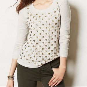 Anthropologie Deletta Grey Gold Sequin Sweatshirt
